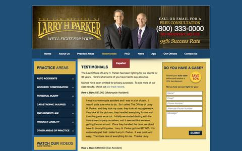 Screenshot of Testimonials Page larryhparker.com - Larry H. Parker Reviews - Client Testimonials in Los Angeles, Long Beach, and Phoenix - captured Sept. 18, 2014