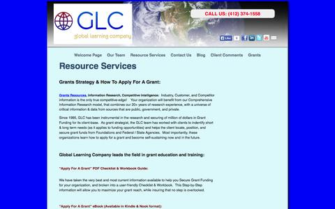 Screenshot of Services Page glc3d.com - Grants Strategy and How To Apply For A Grant » Resource Services - captured Oct. 2, 2014