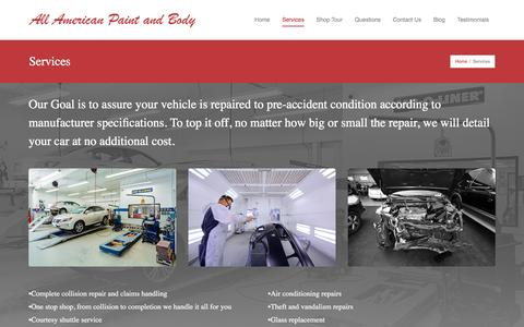 Screenshot of Services Page allamericanpaintandbody.com - Services | All American Paint and Body - captured Feb. 5, 2016