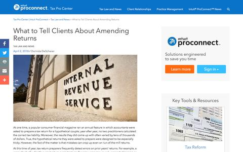 Screenshot of Press Page intuit.com - What to Tell Clients About Amending Returns | Tax Pro Center | Intuit ProConnect - captured Nov. 21, 2019