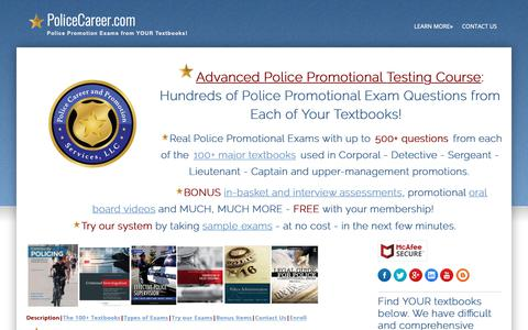 Screenshot of Contact Page Testimonials Page policecareer.com - Police Promotion Exams Sergeant Lieutenant In-Basket Assessment Center - captured Sept. 28, 2018