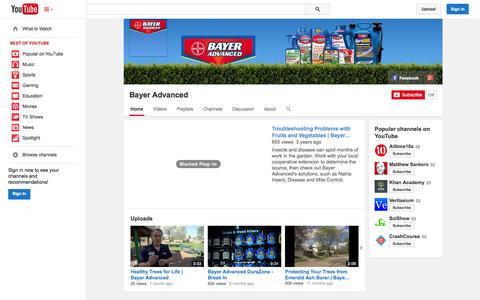 Screenshot of YouTube Page youtube.com - Bayer Advanced  - YouTube - captured Nov. 1, 2014