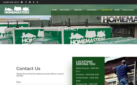 Screenshot of Contact Page homemasters.com - Contact Us | HOMEMASTERS - captured Sept. 29, 2018