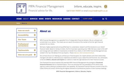 Screenshot of About Page mpafm.co.uk - About us | MPA Financial Management | Solihull - captured Oct. 4, 2014