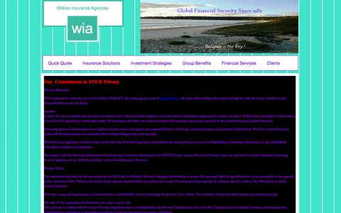 Screenshot of Privacy Page wia.ca - Wilkins Insurance Agencies - captured Aug. 13, 2015