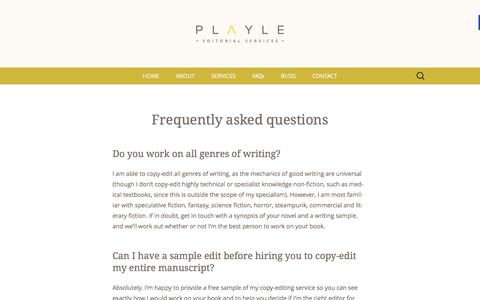 Screenshot of FAQ Page playle-editorial-services.com - FAQs - Playle Editorial Services - captured March 25, 2016