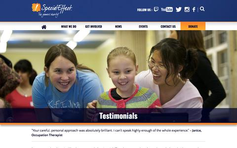 Screenshot of Testimonials Page specialeffect.org.uk - Testimonials | SpecialEffect - captured Sept. 21, 2018