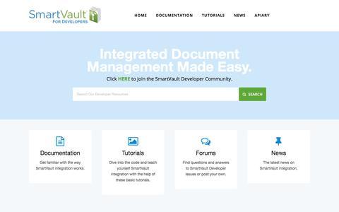 Screenshot of Developers Page smartvault.com - SmartVault for Developers - captured Sept. 19, 2018