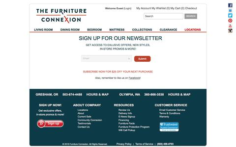 Screenshot of Signup Page furnitureconnexion.com - Deals and Offers, Sign up now!  - Furniture Connexion - captured June 6, 2017