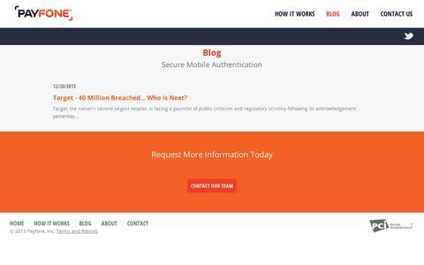 Screenshot of Blog payfone.com - Payfone - captured Sept. 11, 2014