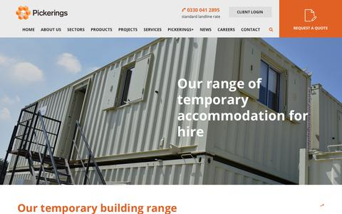 Screenshot of Products Page pickeringshire.co.uk - Temporary Buildings To Hire & Buy | Pickerings - captured Nov. 10, 2018