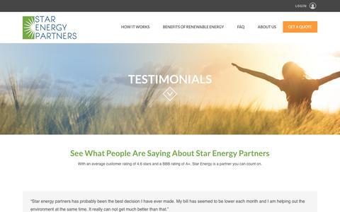 Screenshot of Testimonials Page starenergypartners.com - Testimonials - - captured Dec. 17, 2016