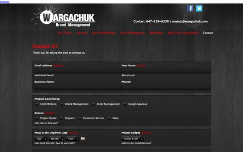 Screenshot of Contact Page wargachuk.com - Contact - captured Oct. 27, 2014