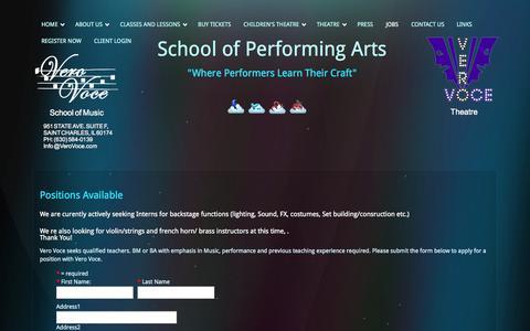 Screenshot of Jobs Page verovoce.com - Vero Voce - Jobs - captured Oct. 26, 2014