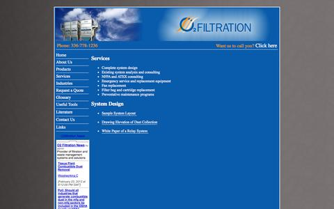 Screenshot of Services Page o2filtration.com - Dust Collection, Fume Collection, Energy Management Systems, Material Separator, & Briquette Process by O2Filtration - captured Oct. 27, 2014