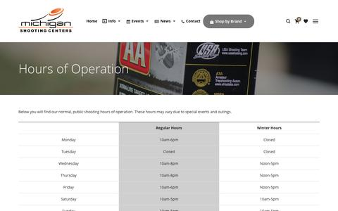 Screenshot of Hours Page mishoot.com - Hours of Operation   Michigan Shooting Centers   Island Lake and Bald Mountain - captured Oct. 18, 2017
