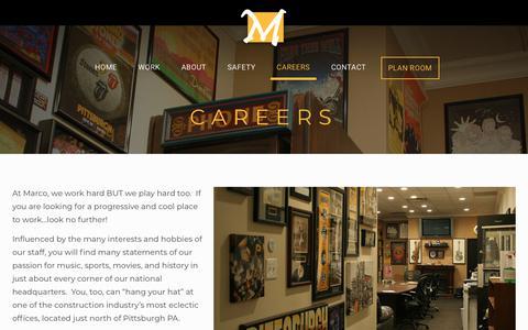 Screenshot of Jobs Page marcocontractors.com - Careers - Marco Contractors - captured Oct. 16, 2018