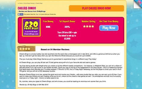 Screenshot of ohmybingo.com - Cheers Bingo | Play with £20 free play | Spin The Wheel - captured March 19, 2016