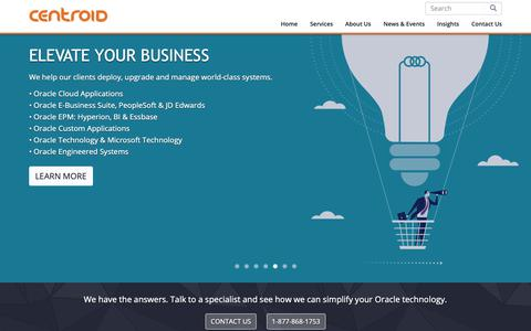 Screenshot of Home Page centroid.com - Top Oracle Consulting, Managed Cloud Services & Cloud Solutions | Centroid - captured Sept. 27, 2018