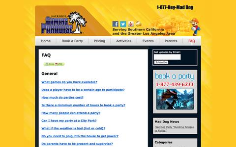 Screenshot of FAQ Page maddogparty.com - Mad Dog's Gamers Paradise - Mobile Video Gaming and Laser Tag - captured Oct. 4, 2014