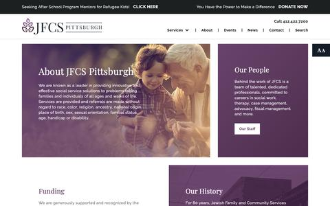 Screenshot of About Page jfcspgh.org - About Us | Jewish Family and Community Services of Pittsburgh - captured Oct. 13, 2018