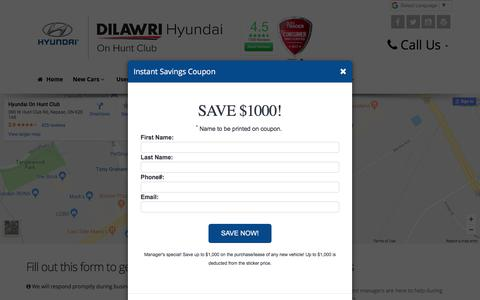 Screenshot of Contact Page Maps & Directions Page hyundaionhuntclub.com - Contact Hyundai On Hunt Club Dealership Your Local Ottawa New and Used Car Dealer, Sales, Parts and Service - captured Feb. 12, 2018