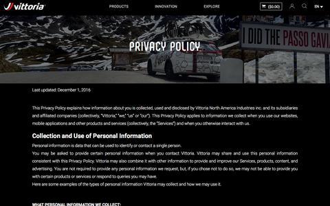 Screenshot of Privacy Page vittoria.com - Privacy Policy | Vittoria Bicycles Tires & Wheels - vittoria.com - captured Sept. 22, 2018