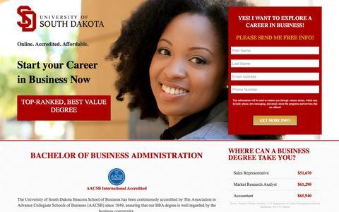 Screenshot of Landing Page usd.edu - Bachelor of Business Administration - USD Online - captured June 3, 2016