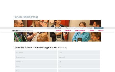 Screenshot of Signup Page healthcarestrategy.com - Forum Membership – Forum for Healthcare Strategists - captured Nov. 25, 2016