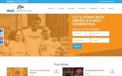 Screenshot of Home Page truecolorsfund.org - The True Colors Fund   Ending LGBT Youth Homelessness - captured Aug. 17, 2015
