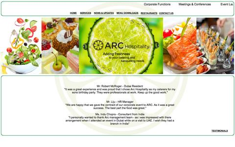 Screenshot of Testimonials Page archospitality.me - Dubai, Abu Dhabi, UAE - Catering and banqueting Company - Arc hospitality  -  Testimonials - captured Sept. 30, 2014