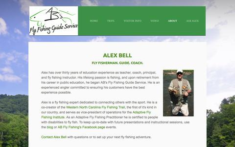 Screenshot of About Page abfish.org - About Alex Bell and AB's Fly Fishing in the Smoky Mountains - Alex Bell Fly Fishing Guide - captured Oct. 4, 2014
