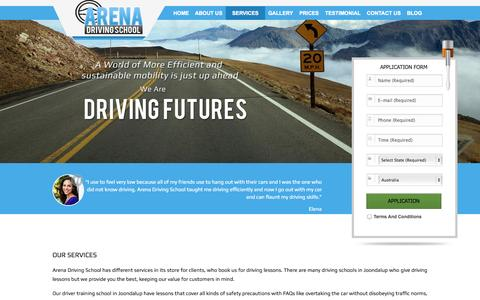 Screenshot of Services Page arenadrivingschool.com.au - Services - Driving Instructors Joondalup | Driving Lessons Wanneroo - Arena Driving School - captured Sept. 30, 2014