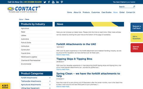 Screenshot of Press Page forklift-attachments.co.uk - News - captured Aug. 26, 2017