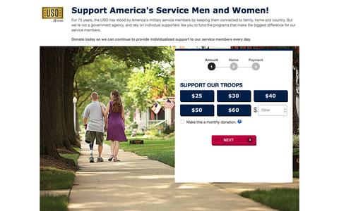 Screenshot of Landing Page uso.org - Donate | USO.org - captured Oct. 20, 2016