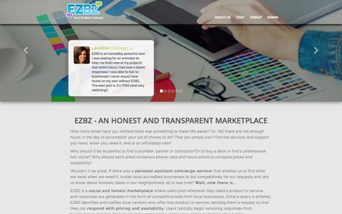 Screenshot of About Page myezbz.com - Find repair services, contractors, products & programs with EZBZ | EZBZ - captured Sept. 15, 2016