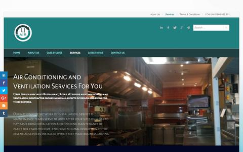 Screenshot of Services Page ljair.co.uk - Services - LJ Air - captured July 15, 2018