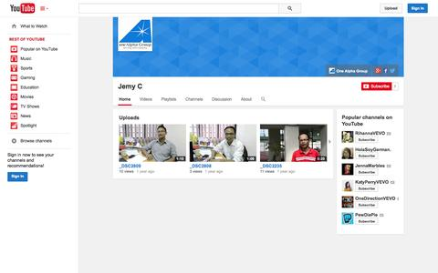 Screenshot of YouTube Page youtube.com - Jemy C  - YouTube - captured Nov. 5, 2014