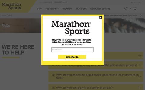 Screenshot of FAQ Page marathonsports.com - FAQs | Marathon Sports - captured June 26, 2018