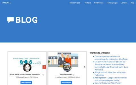 Screenshot of Blog id-meneo.com - Blog Référencement et Wordpress - Agence ID MENEO - captured July 18, 2018