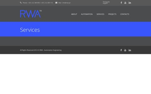 Screenshot of Services Page rwa.pt - RWA – Automation Engineering  » Services - captured Dec. 21, 2016