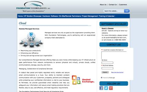 Screenshot of Services Page found-tech.com - Foundation Technologies | Cloud | Hosted Managed Services | Program Management South Carolina | Fortinet | Network Security Appliance | Deep Freeze | Layered Security |   Workstations | On-Site Technicians | FTI Purchases Cisco | South Carolina | ::  - captured Oct. 6, 2014