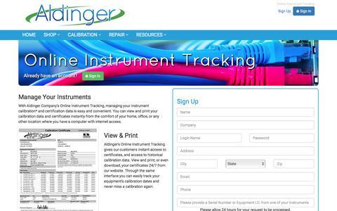 Screenshot of Signup Page aldingerco.com - Aldinger Co. Online Instrument Tracking - captured Nov. 20, 2016