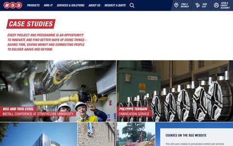 Screenshot of Case Studies Page bssindustrial.co.uk - BSS Case Studies - captured Dec. 9, 2018