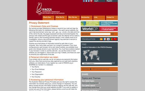 Screenshot of Privacy Page ifacca.org - Privacy Statement - IFACCA, the International Federation of Arts Councils and Culture Agencies - captured Oct. 3, 2014