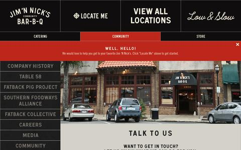 Screenshot of Contact Page jimnnicks.com - Contact | Jim 'N Nick's - captured Sept. 24, 2014