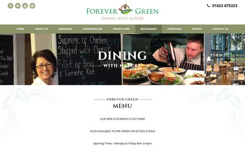 Screenshot of Menu Page forever-green.info - Menu - Forever Green, Mansfield, Nottinghamshire - captured Oct. 10, 2018