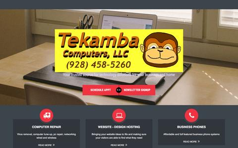 Screenshot of Home Page tekamba.com - Tekamba Computers LLC – Your trusted computer resource for the Quad Cities of Arizona - captured Feb. 14, 2016
