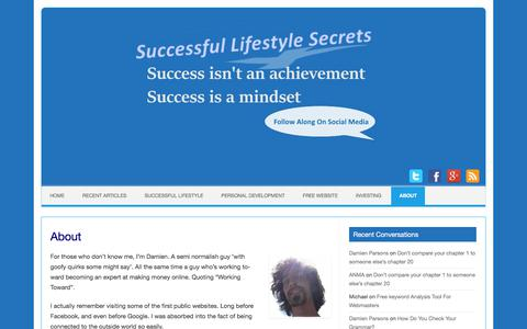 Screenshot of About Page successful-lifestyle-secrets.ca - About | Successful Lifestyle Secrets - captured June 30, 2018