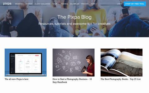 Screenshot of Blog pixpa.com - Resources, Guides & Inspiration for Creatives - The Pixpa Blog - captured Sept. 13, 2018